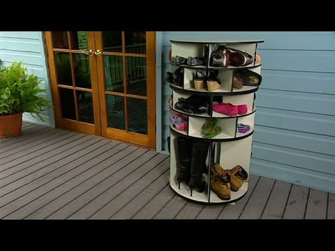 DIY: Lazy Susan Shoe Storage