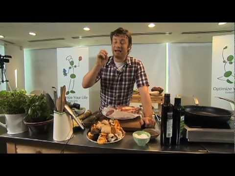 Jamie Oliver cooks steak with wild mushrooms